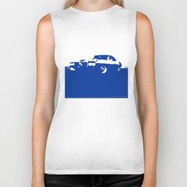 Pontiac Firebird, Blue on Cream Biker Tank