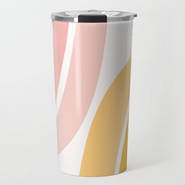 Abstract Shapes 37 in Mustard Yellow and Pale Pink Travel Mug