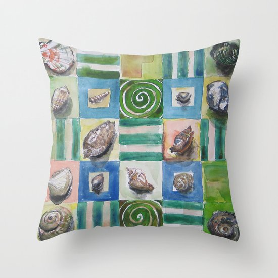 Shell and stripes Throw Pillow