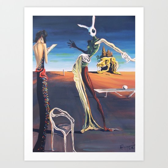 Woman With A Head of Rabbit Art Print