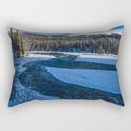 Athabasca River running through Jasper National Park Rectangular Pillow