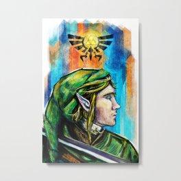 Link from the Legend of Zelda Painting. The Proud Hyrulian Warrior. Metal Print