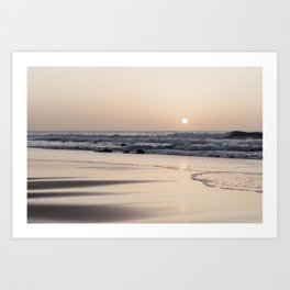 Pastel sunset at the beach | Waves of the Atlantic Ocean | Fine Art Travel Photography | Art Print