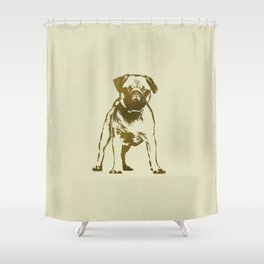 Pug Puppy sketch on canvas with gold accents Shower Curtain