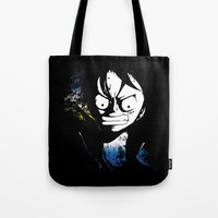 luffy Tote Bags featuring angry luffy grunge sign by BradixArt
