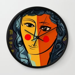 Portrait of a cubist pop beautiful girl Wall Clock