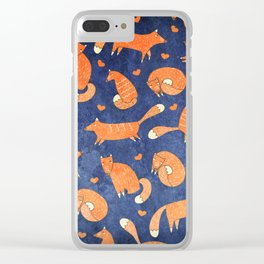 Foxes at Night - Cute Fox Pattern Clear iPhone Case