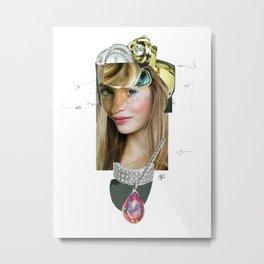 Frau mit Portrait Disaster Metal Print