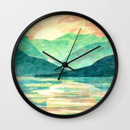 Spring Sunset over Emerald Mountain Landscape Painting Wall Clock