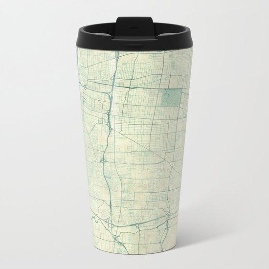 Memphis Map Blue Vintage Metal Travel Mug