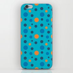 Blue and Orange dots on Blue iPhone & iPod Skin