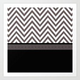 Modern Chevron Striped Pattern, Black, White, Grey Art Print
