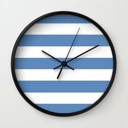 Silver Lake blue - solid color - white stripes pattern Wall Clock