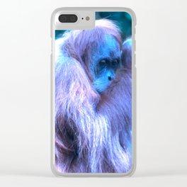 Orang Utan, purple blue Clear iPhone Case
