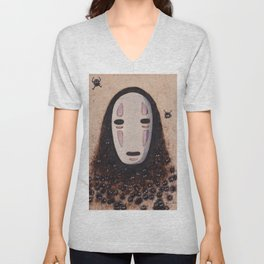No Face - Spirited Away with Soot sprites (Susuwatari) Unisex V-Neck