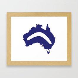 Australia Silhouette With Boomerang Framed Art Print