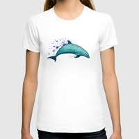 psychadelic T-shirts featuring Indigo Lagoon ~ Dolphin Watercolor by Amber Marine
