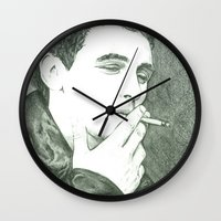 james franco Wall Clocks featuring Mr Franco by Troy Salmon Art