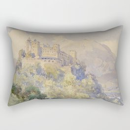 Overlooking the Hohenwerfen Fortress in Salzburg by Edward Theodor Compton Rectangular Pillow