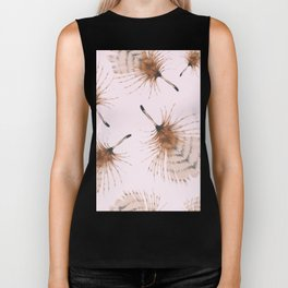 Delicate Brown Feather Seamless Pattern On Pink Biker Tank