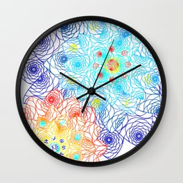 Bright Floral Orange and Blue Doily Lace Spring Digital Illustration Wall Clock
