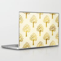 gold foil Laptop & iPad Skins featuring Cream Gold Foil 02 by Aloke Design