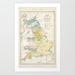 Vintage Map of the Coal Fields of Great Britain Art Print