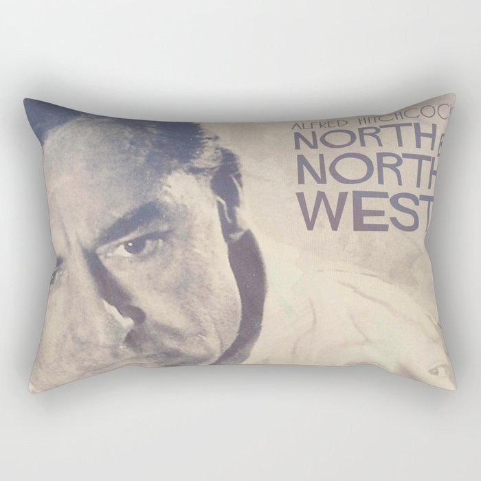 North by Northwest, Alfred Hitchcock, vintage movie poster, Cary Grant, minimalist Rectangular Pillow