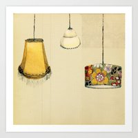 Retro Lampshades Art Print