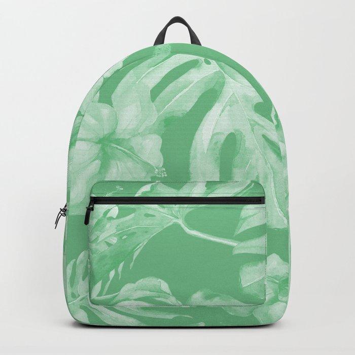 Tropical Palm Leaves Green Backpack