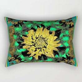 Abstracted Teal-Green Yellow Chrysanthemums Floral Rectangular Pillow