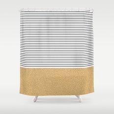 Minimal Gold Glitter Stripes Shower Curtain