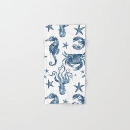 Delft Blue nautical Marine Life pattern, coastal beach Hand & Bath Towel