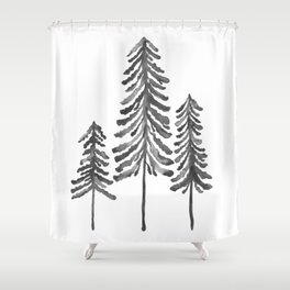 Pine Trees – Black Ink Shower Curtain