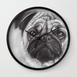 Cute Pug Dog Animal Pugs Portrait Wall Clock