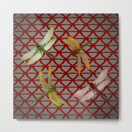 DRAGONFLIES  RED-GREY ORIENTAL SCREEN ART Metal Print