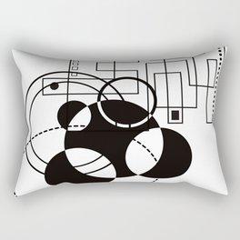 Atomic Floorplan Geometric Abstract Black White Rectangular Pillow