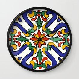 Talavera Royal Blue Green Red  Wall Clock