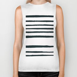 Abstract geometrical hand painted brushstrokes stripes Biker Tank