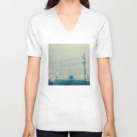 kansas city V-neck T-shirts featuring Kansas City Rain by Jason Simms
