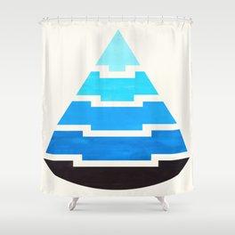 Cerulean Blue Gouache Painting Aztec Minimalist Abstract Geometric Pattern Pyramid Shower Curtain