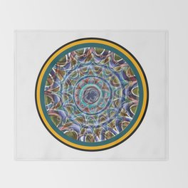 Free Hand Mandala in Circles Throw Blanket