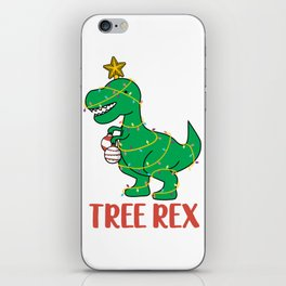 Cute Tree Rex Christmas Tree Dinosaur Holiday T-Shirt iPhone Skin
