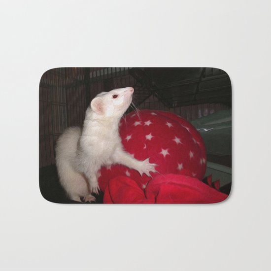 The Ivory Ferret and the Starry Red Bouncy House Bath Mat