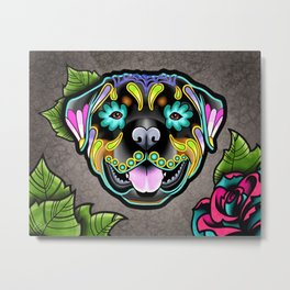 Rottweiler - Day of the Dead Sugar Skull Dog Metal Print