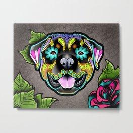 Rottweiler - Day of the Dead Sugar Skull Dog Metal Print