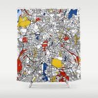 mondrian Shower Curtains featuring Berlin mondrian by Mondrian Maps