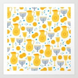 Hanukkah Traditions Pattern Art Print