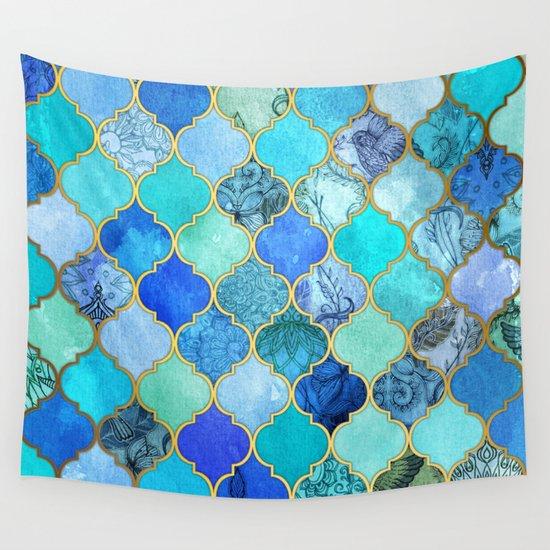Cobalt Blue, Aqua & Gold Decorative Moroccan Tile Pattern Wall Tapestry