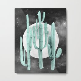Cactus Nights Full Moon Starry Sky Sage by Nature Magick Metal Print